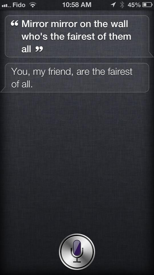 Siri knows who the fairest one of all is